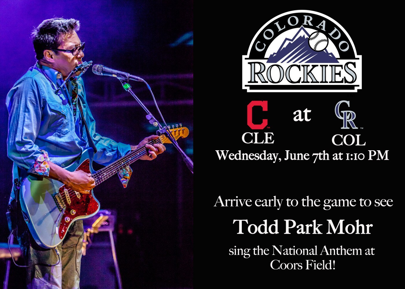 Todd Park Mohr singing the national anthem at Rockies Game TOMORROW June 7th!