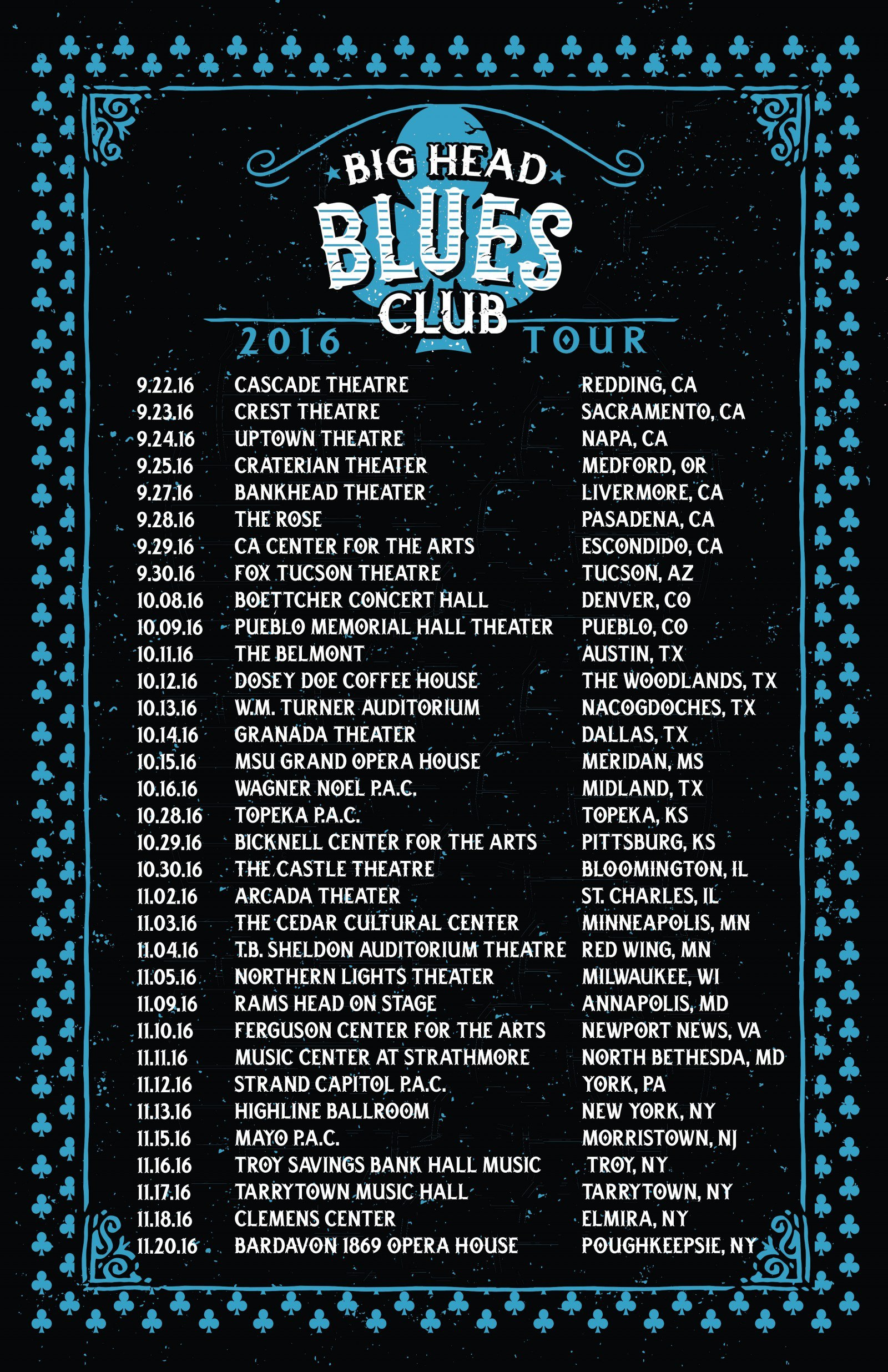Big Head Blues Club Fall Tour Starts TODAY