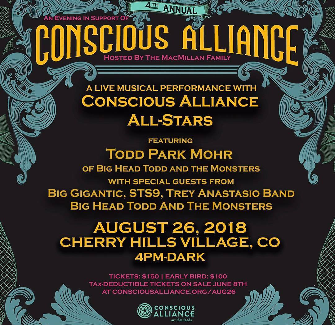 Todd Park Mohr headlining Conscious Alliance All- Stars event on Aug. 26th in Colorado!